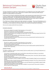 Behaviour Based Questions Behavioural Competency Based Question Samples