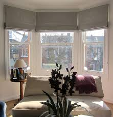 Patterned Curtains Living Room Geometric Patterned Roman Blinds In A Bay Window Could Work In