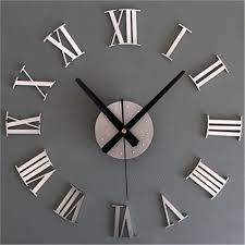 Clocks, Excellent Mirror Wall Clock Large Square Mirror Clock Elegant Round  Clock Analog Clock Grey ...