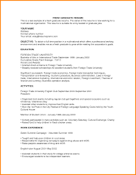 Fresh Graduate Resume Sample 9 Curriculum Vitae Sample For Fresh