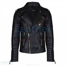 Get Biker Mens Quilted Leather Jacket with Golden Hardware in Black Co & Biker Mens Quilted Leather Jacket with Golden Hardware front Adamdwight.com