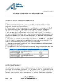 Carbon Steel Pipe Pressure Rating Chart Atlas Steels