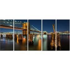 lit up brooklyn bridge by night 5 piece wall art on wrapped canvas set on lighting up wall art with bridge wall art wayfair