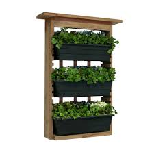 wood garden view vertical garden with 3 planters