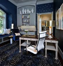 home office trends. Patterned Navy Rug In Home Office - Designer: Carla Aston, Photo By Miro Dvorscak Trends S
