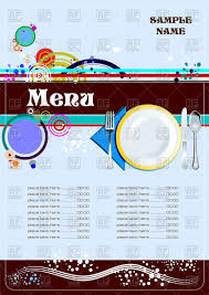 Cafe Menu Template Funny Restaurant Cafe Menu Template With Plate Fork And Spoon Stock Vector Image