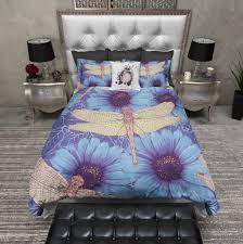 Dragonfly Blue Daisy Duvet Bedding Sets - Ink and Rags & Dragonfly Blue Daisy Duvet Bedding Sets Adamdwight.com