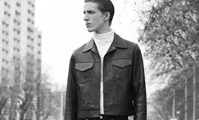 in true minimalist design the spread collar leather jacket like a harrington with a shirt inspired