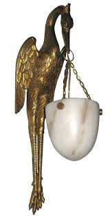 pair french art deco bronze dore and alabaster stork wall sconces this superbly