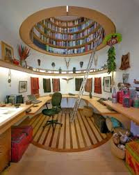 unique office decor. Interior : Inspiring Unique Home Office Decor Ideas Feat Round Ceiling As Book Shelves Also Curved Floating Table And Green Chair Modern I