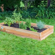 outdoor essentials cedar raised garden bed assembled with plants beds kit