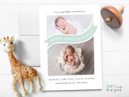 Printed Birth Announcement Birth Announcements Ampitupdesigns