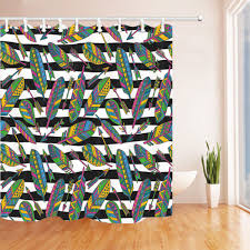 colorful bright feathers and arrows bathroom fabric shower curtain hooks 71 hover to zoom