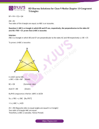 Congruent and similar triangles congruency two shapes are congruent if one of the shapes fits exactly on top of the other shape. Rd Sharma Solutions Class 9 Chapter 10 Congruent Triangles Free Pdf