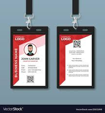 Id Card Templates Free Simple Red Graphic Id Card Template