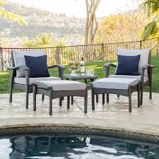 Amazon Maui Outdoor 5 piece Grey Wicker Seating Set with