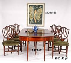 Hap Moore Antiques Auctions - Shield back dining room chairs