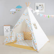 Teepee Pattern Custom Kids Play Tent Cute Lion Pattern Playhouses For Children Indoor