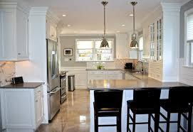 view full size. High end kitchen design with Restoration Hardware Benson  Pendants over peninsula bar ...