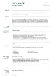 Digital Strategist Resume Social Media Strategist Resume Samples And Templates