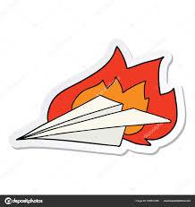 Nálepka Kreslený Hořící Papírové Letadlo Stock Vektor