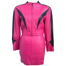 80s michael hoban north beach leather hot pink jacket and mini skirt set for