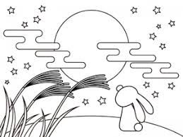ぬりえ素材お月見をしているうさぎ イラスト無料かわいいテンプレート