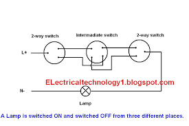 how to control one lamp from three different places by using two way switches and one intermediate switch jpg electrical technology how to control one lamp from three how to wiring diagram for two way