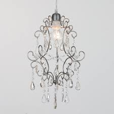 easy fit pendant shade chandelier crystal droplets light antique brass litecraft