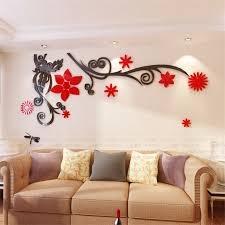 3d stereo flower vine acrylic crystal wall stickers home decor diy mirror wall sticker tree living