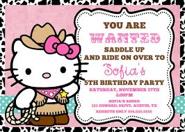 cowgirl hello kitty invitation