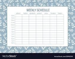 Design Schedule Template Weekly Schedule Planer Template