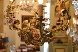 french 19th century painted tole bell shaped chandelier with porcelain flowers