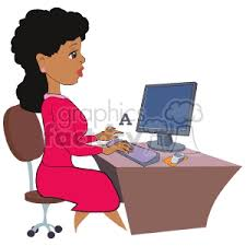 secretary desk clipart. Interesting Desk A Secretary Typing On The Computer On Desk Clipart T