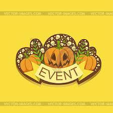 Halloween Event Template Label Cute Sticker Vector Eps Clipart