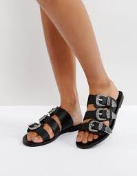 SOL SANA PEGGY BLACK LEATHER WESTERN SLIDE SANDALS - BLACK. #solsana #shoes  #