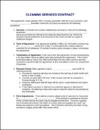 Contract For Services Agreement Sample Janitorial Contract Legal