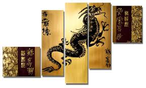 Oriental Wall Art Painting Metal Mysterious Pictures Very Large Asian Wall  Art Dragon Black Five Panel Chinese Brown Rectangle Modern Simple Design