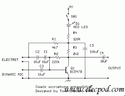 simple microphone preamplifier by bc547 circuit wiring diagrams simple microphone preamplifier by bc547
