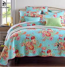 Luckey1 Multi Flower Print Quilt Cover Bedding Sets Queen Size ... & Luckey1 Multi Flower Print Quilt Cover Bedding Sets Queen Size, Cotton Quilted  Bedspread Sets Queen Adamdwight.com