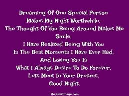 Quote For Special One Dreaming Of One Special Person Good Night