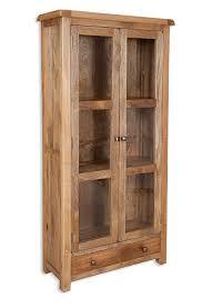 Odisha Rustic Mango Wood Glazed Display Cabinet Solid Mango Wood