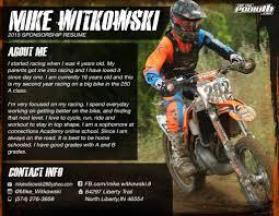 Sponsorship Resume Templates Memberpro Co Motocross Example Mike