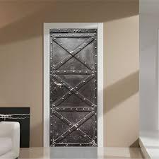 Door Vinyl Design Us 26 99 Fake Diy Pattern Iron Door Vinyl Wall Stickers Doors Styling Murals For Home Living Room Decoration Vintage Door Wallpaper In Wall Stickers