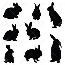 ウサギのシルエットのイラスト セット