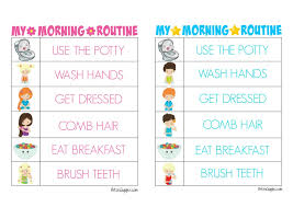 Morning Routine Printable Chart Printable Morning Routine Charts Bitz Giggles