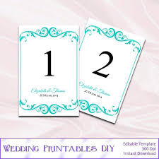 blue wedding table numbers template printable card frame insert templates 4x6 picture