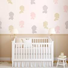 cute nursery decor or girls room decor painted cameo faces with wall art stencils on cute nursery wall art with nursery baby kids stencils for walls cute nursery decor ideas