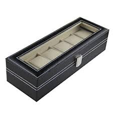amazon com sorbus watch box 6 mens black leather display plexi sorbus watch box 6 mens black leather display plexi glass top jewelry case organizer