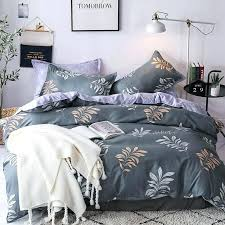 double bedding set king size gray leaf printed single bed linen quilt cover sheet queen covers